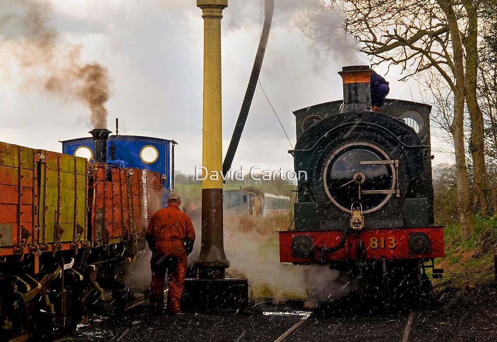 Steam train maintenance in the snow, East Somerset Railway by David Carton