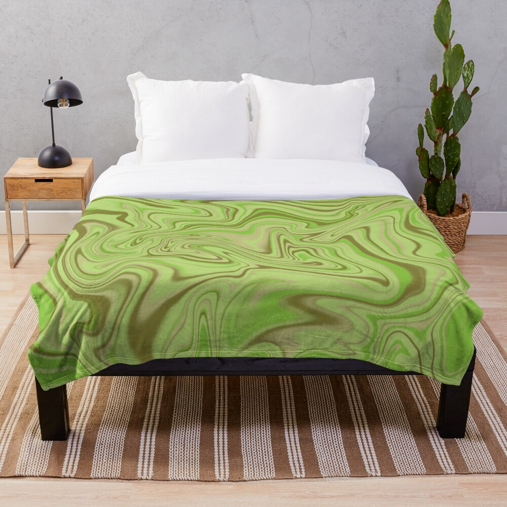 Light Green Abstract Swirl Throw Blanket