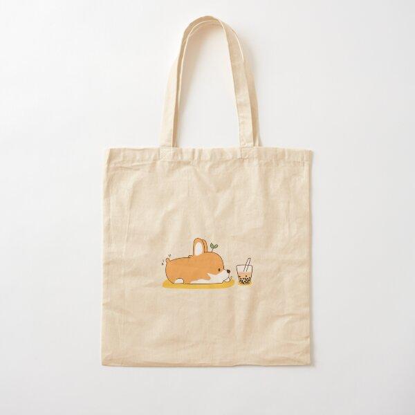 Corgi and Bubble Tea  Cotton Tote Bag