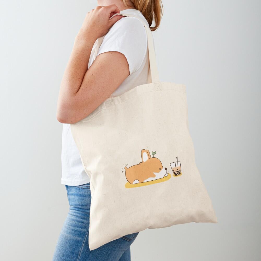 Corgi and Bubble Tea  Tote Bag