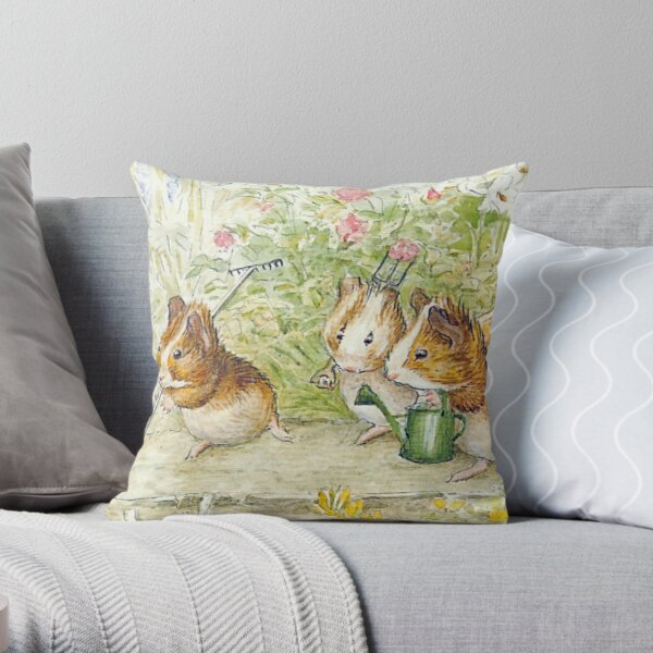 Guinea Pig Gardeners - Beatrix Potter Throw Pillow