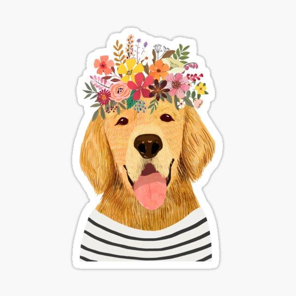 Golden Retriever Dog With Flower Crown Sticker