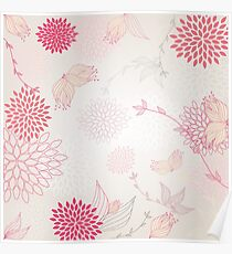 Pastel flowers background Poster