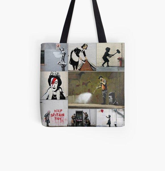 Banksy Merchandise, Banksy Art Montage 05 All Over Print Tote Bag
