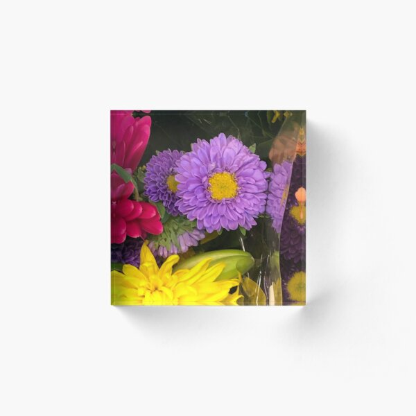 Purple flowers  Acrylic Block