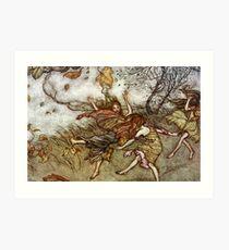 Autumn Fairies Dancing in the Wind - Arthur Rackham Art Print