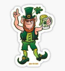 Saint Patrick's Day Leprechaun Drinking Beer Sticker