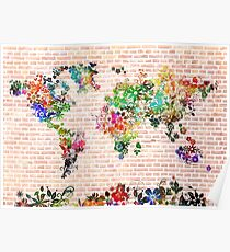 world map floral 1 Poster
