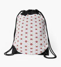 Lace Flowers on Grey Drawstring Bag