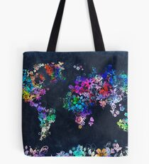 world map floral 2 Tote Bag