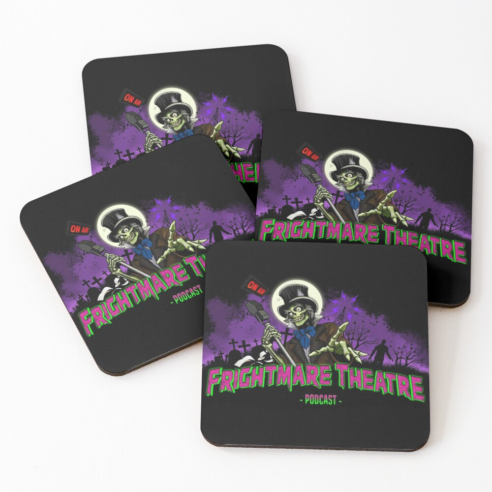 FRIGHTMARE THEATRE PODCAST MAIN Coasters (Set of 4)