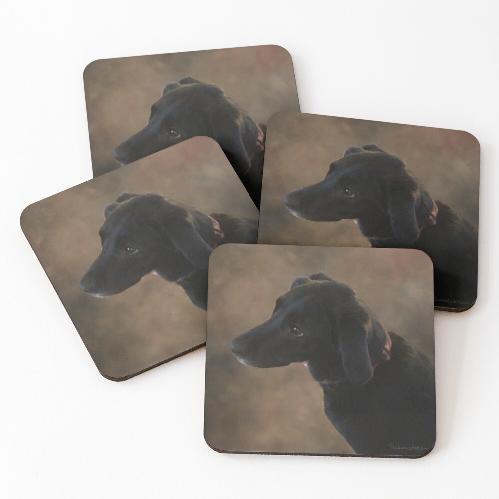 Reilly the Black Lab Coasters (Set of 4)