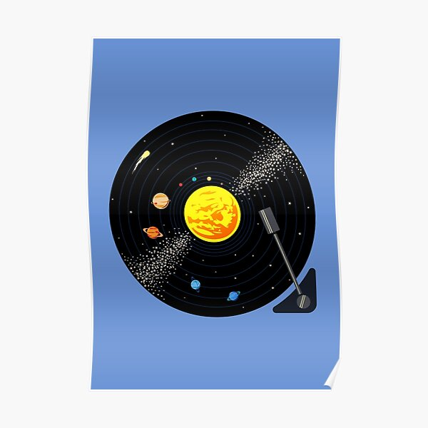 Solar System Vinyl Record Poster