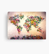 world map floral 4 Canvas Print