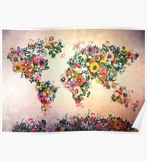world map floral 4 Poster