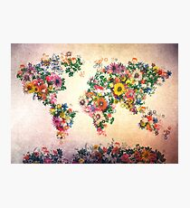 world map floral 4 Photographic Print
