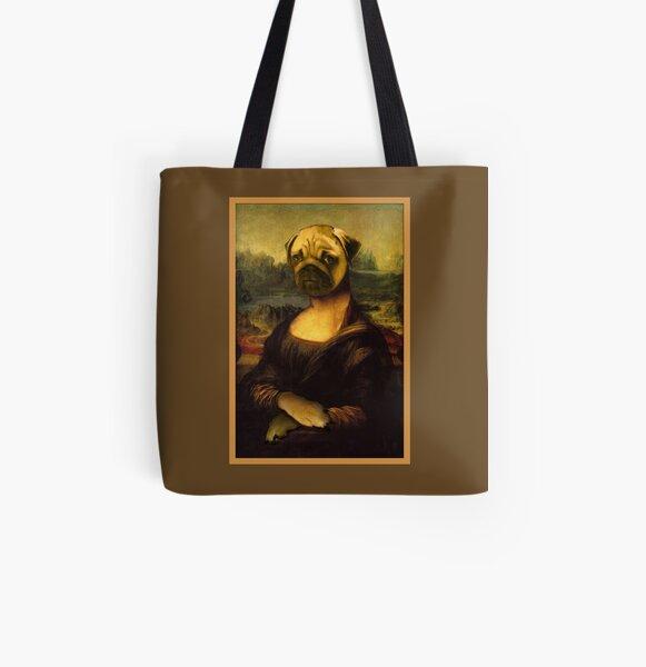 Mona Lisa Pug All Over Print Tote Bag