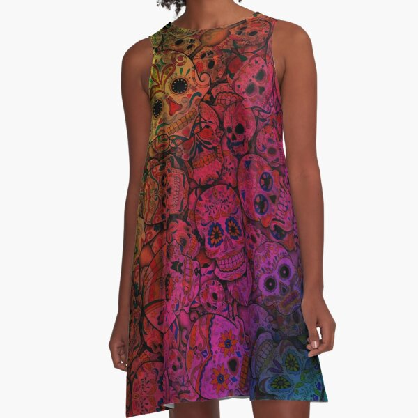 Rainbow Sugar Skulls A-Line Dress