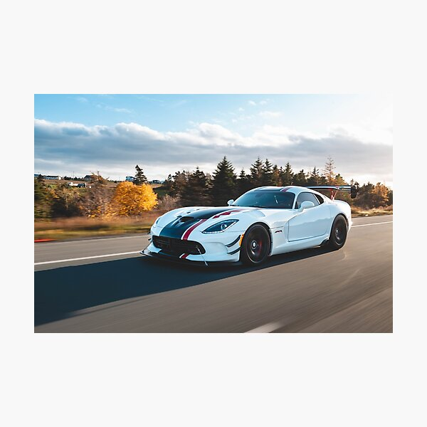 White Dodge Viper ACR driving on the highway Photographic Print