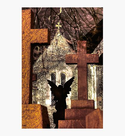 Angel silhouette against a church Photographic Print