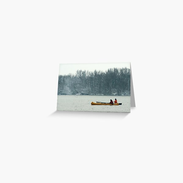 Two canoes on a winter lake Greeting Card