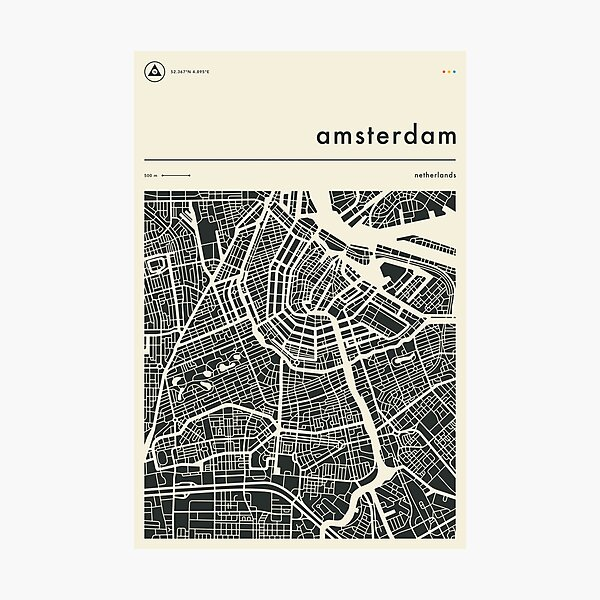 AMSTERDAM MAP Photographic Print