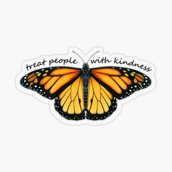 Tratar a las personas con bondad Monarca Pegatina transparente