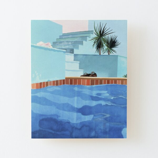 Swimming Pool House Wood Mounted Print
