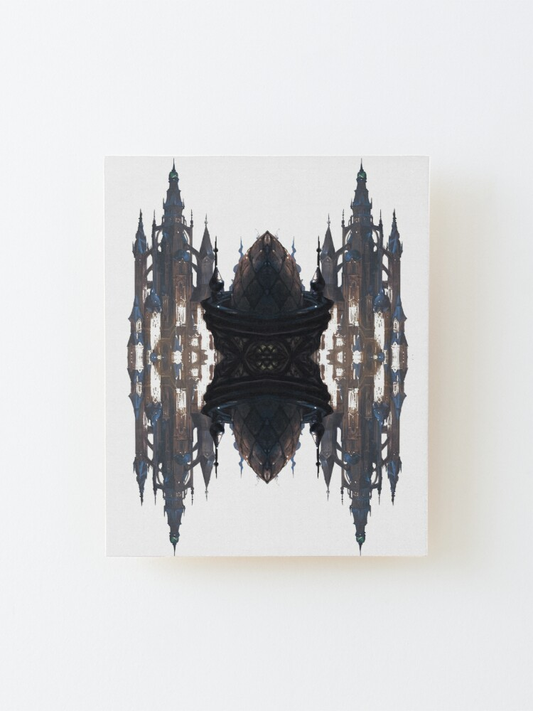 Alternate view of Fantastic air castle with elements of steampunk subculture Mounted Print