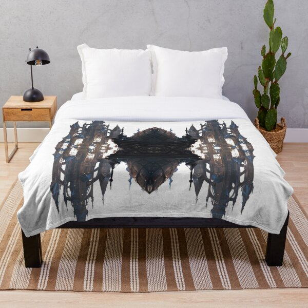 Fantastic air castle with elements of steampunk subculture Throw Blanket