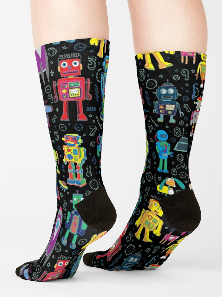 Alternate view of Robots in Space - black - fun pattern by Cecca Designs Socks