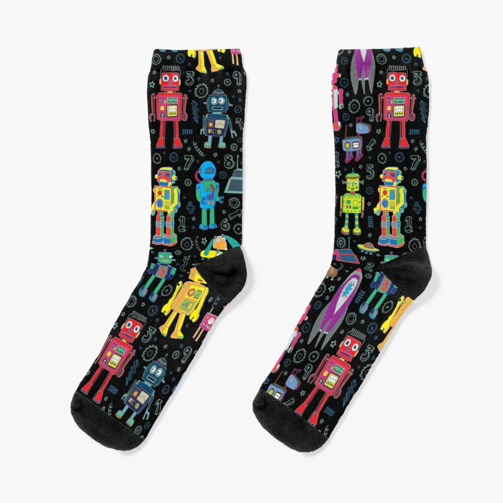 Robots in Space - black - fun pattern by Cecca Designs Socks