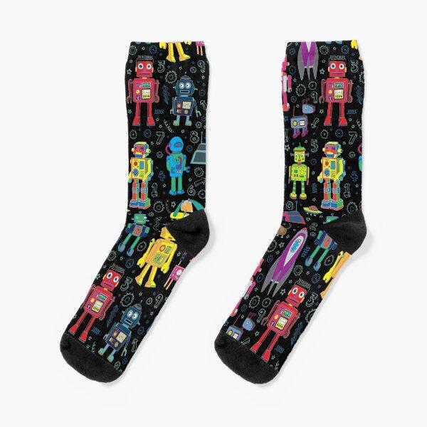 Robots in Space - black - fun pattern by Cecca Designs Socks