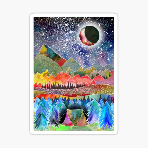 Camping under the moon Sticker