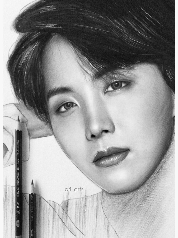 jungkook pencil drawing art board print by ari arts redbubble