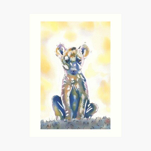 Baby Hyena Watercolour Illustration Art Print