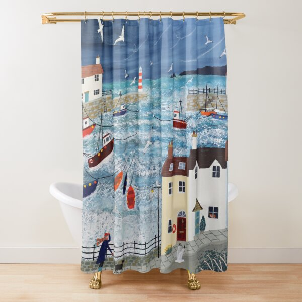 Stormy Harbour Shower Curtain