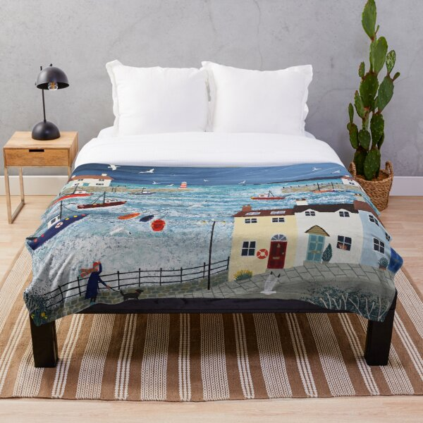 Stormy Harbour Throw Blanket