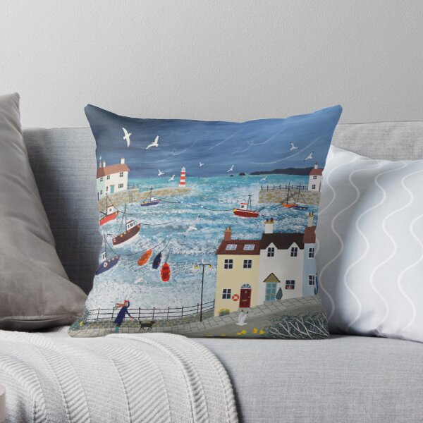 Stormy Harbour Throw Pillow