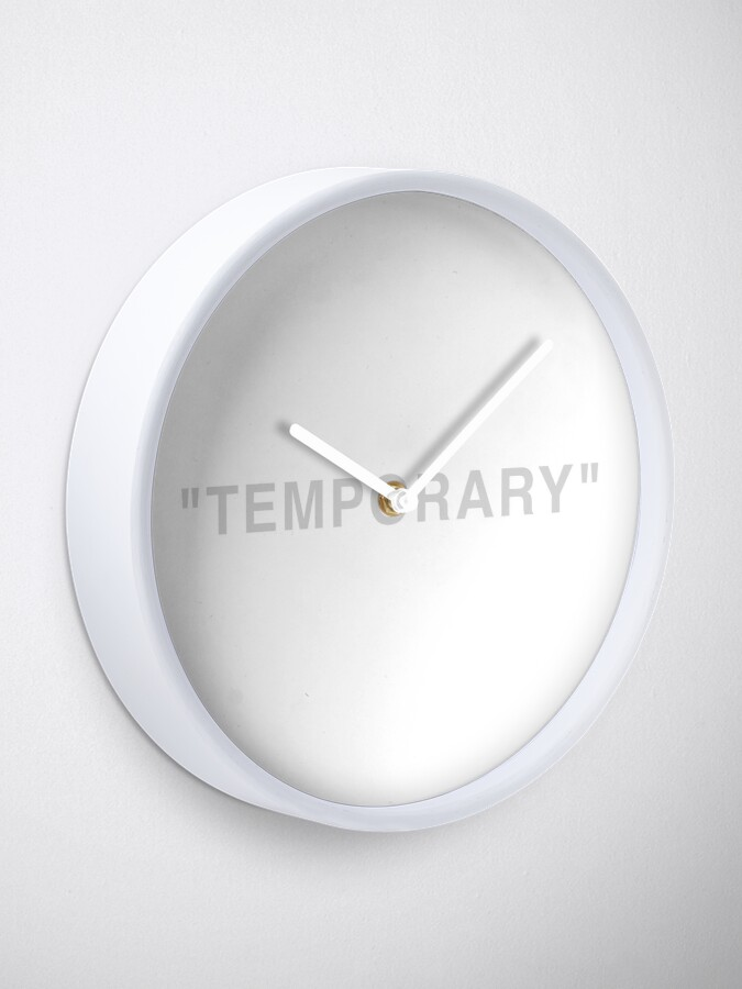 """Alternate view of """"Temporary"""" Quotation Marks  Clock"""