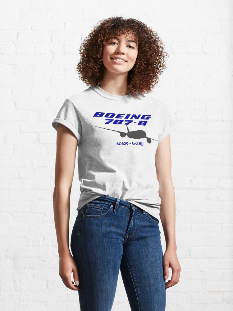 Alternate view of Boeing 787-8 60629 G-ZBJJ (Black Print) Classic T-Shirt