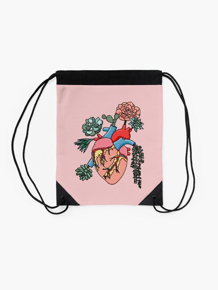 Alternate view of Succulent heart by Sasa Elebea Drawstring Bag