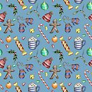 Christmas Pattern, blue background by Theodora Gould