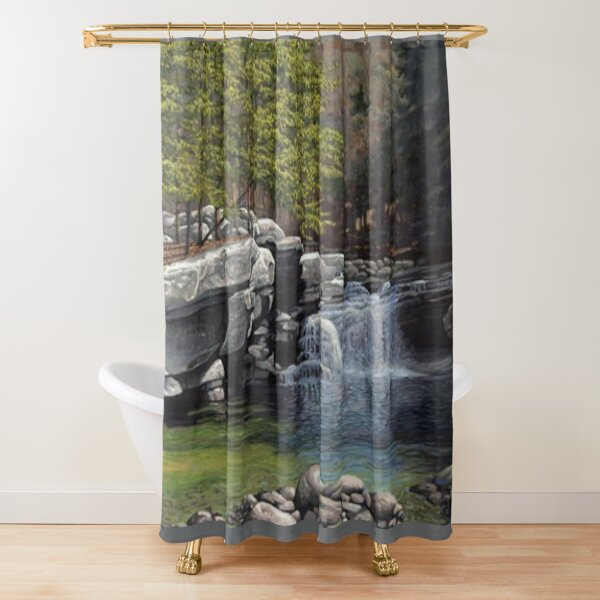 """Bartlett's Falls"" Bristol Vermont painting by Reed Prescott Shower Curtain"