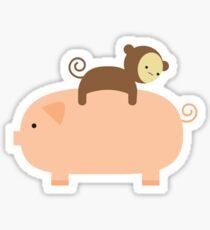 Baby Monkey Riding on a Pig Sticker