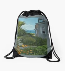 """""""The Cottage"""" oil painting by Reed A Prescott III Drawstring Bag"""