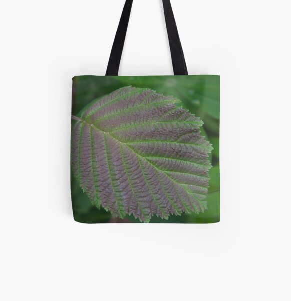 Grey Alder Leaf All Over Print Tote Bag