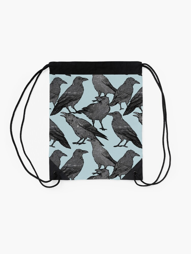 Alternate view of Cute crow pattern Drawstring Bag