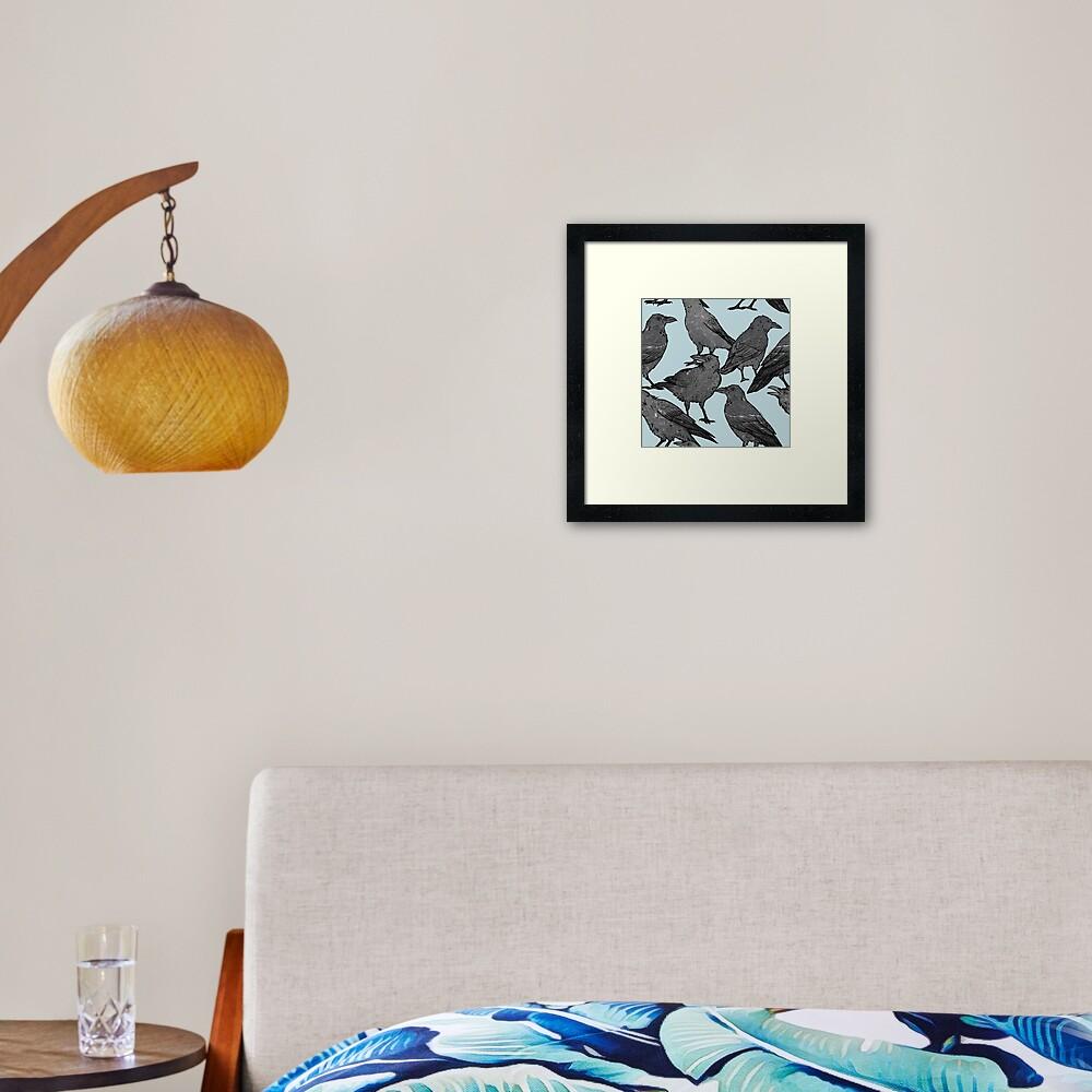 Cute crow pattern Framed Art Print