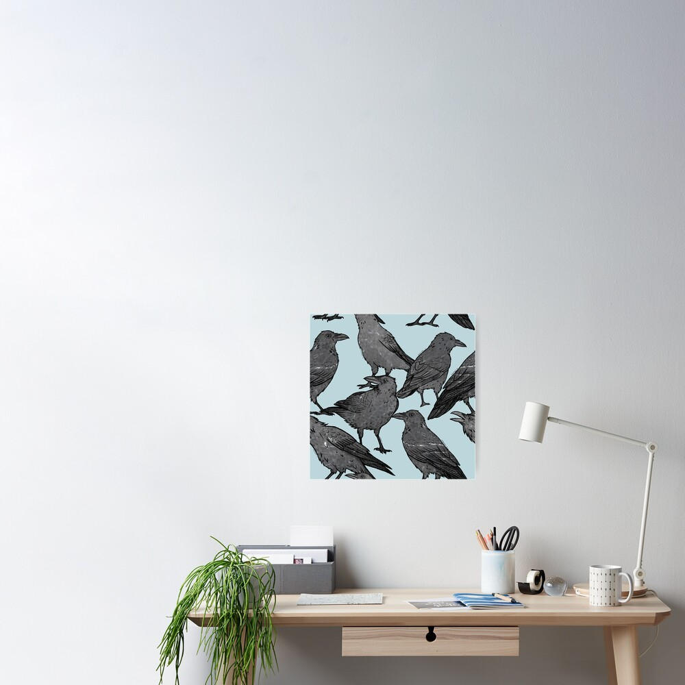 Cute crow pattern Poster